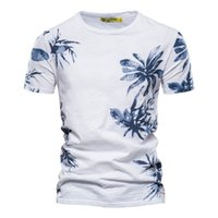 Negizber feuilles T-shirt imprimé Hommes Col O-Col 100% coton Casual T-shirt Hommes T-shirt Qualité de la qualité Mode Hawaii Style Hommes Vêtements 210329