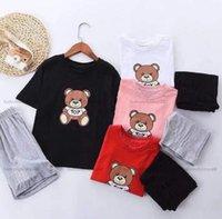 어린이 소년 소녀 의류 세트 만화 곰 라운드 목 스포츠 티셔츠 반바지 아기 디자이너 옷 아이들