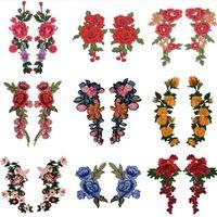 20 adet Nakış Gül Çiçek Yama Aplike Dikiş Kavramları DIY El Sanatları Stiker Jeans Şapka Çanta Giysi Aksesuarları Rozetleri (Dikmek veya Demir Açık)