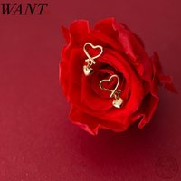 Stud WANTME Arrival Fashion Golden Hollow Heart Love Studs Earrings For Women Real 100% 925 Sterling Silver Wedding Jewelry 2021