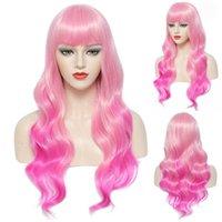 Bangs Qi Liu Hai Longo Cabelo Curly Cos Pink Gradual Change Animação Feminina Fibra Química Headgear