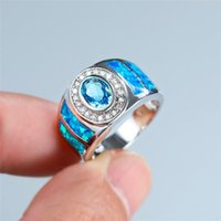 Vintage Female Male Oval Crystal Big Ring Classic Silver Color Wedding Rings For Women Luxury Blue Opal Stone Engagement Ring