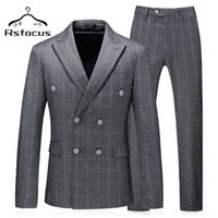 Men's Suits & Blazers Rsfocus Mens Double Breasted Suit Two Piece Tuxedo Groom For Men Wedding Slim Fit Gray Plaid Casual Formal Wear TZ029