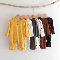 Melario Newborn Baby Rompers Fashion Boys Girls Cartoon Polka Dot Clothes Infants Long Sleeve Jumpsuits Kids Outfits 210418