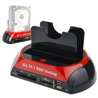 Hubs Hard Drive Docking Station Dual Slots USB 3.0 To SATA IDE HDD With Card Reader For 2.5 3.5 Inch PUO8