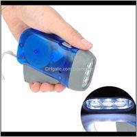 Linterna de cadena de llaves y deportes deportivos al aire libre Drop Entrega 2021 Batería de manivela - Luces de camping 3 LEDs Presionando a mano Manual de linterna GE