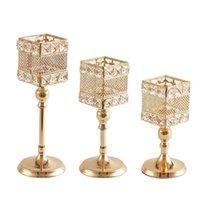 Европейский стиль золотой полый квадрат Lron Art Crystal Crystal Holders Holiday Wedding Prom Home Украшения украшения