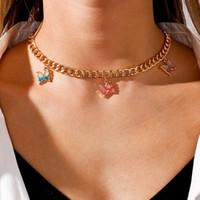 Gelee Farbe Schmetterling Halsketten Für Frauen Gold Choker Chunky Halskette Niedliche Tier Anhänger Collier Schmuck Chokers