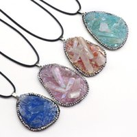 Pendant Necklaces Irregural Rough Stone Resin Necklace Natural Agates For Making Jewerly Party Gift Length 45cm