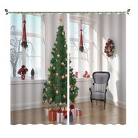 Cortina cortina árvore de Natal com luzes douradas e bolas pela janela digital impresso escovado escorre cortinas personalizadas