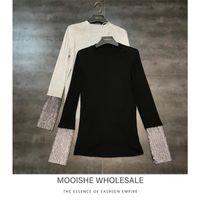 Женские свитеры Mooishe Spring Женщины футболка с длинным рукавом пэчворк полный алмаз черный серый топы тройник
