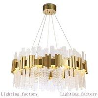 Modern Designer Crystal Glass Chandelier LED Gold Villas Living Room DropLights Hanging Lights Hotel Lobby Lustre Chandeliers Decoration