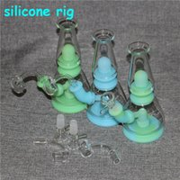 smoking glow in the dark Silicon Dab Rigs Hookahs silicone pipes water bong nectar collectors with glass bowl dabber tools