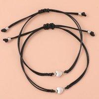 Charm Bracelets 2 Pcs Fashion Heart Lucky Bracelet Black Color Rope Braided Adjustable Trendy Couple Wholesale