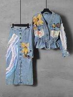 Two Piece Dress new women's spring splicing split skirt two-piece V-neck denim jacket suit EDZZ