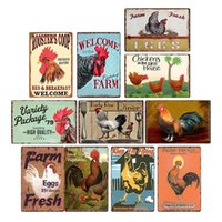 signs posts metal Painting posts Chicken Plaque Sign Vintage Metal Tin Wall Poster Decals Plate Bar Farm Home Decor Art 30*20 cm