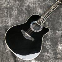 Siyah Katı Ladin 12 Dizeleri Akustik Gitar Abalone Karbon Fiber Kaplumbağa Kabuk Ovation Elektrikli EQ Gitar