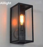 مصابيح الجدار الزجاج الشفاف غطاء في الرجعية E27 ضوء المعادن الإطار خمر مصباح الليل الإضاءة لاعبا اساسيا الممر الشمعدان الرئيسية ديكو