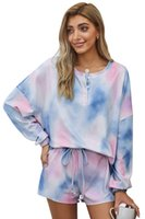Autumn and winter ladies long sleeves sleepwear cotton tie-dye printing pajamas suit collar sets of casual home service