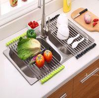 Küchenwaschbecken Abläufige Rack Geschirrtableter Tischset Edelstahl Rutschfeste Falttrockner Racks Halter für Schüssel Fruchtgemüse FWF6634