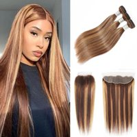 Human Hair Bulks 30 Inch Highlight Ombre Bundles With Frontal Bone Straight Brazilian Weave Transparent Lace Closure