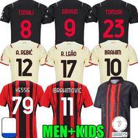 Brahim 21 22 Giroud AC Milan Futebol Jerseys Maignan Ibrahimovic Kessie Camisa de Futebol 2021 2022 Tomori Paqueta Bennacer Rebic Camiseta Leao Ventiladores Jogador Men Kids Kit