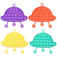 Didget Toys Сенсорная красочная UFO в форме толчок пузырьки против стресса образовательные дети и взрослые декомпрессионные игрушки пузырьки музыки расстегнутый сюрприз оптом