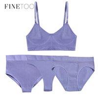 FINETOO 1 Üst + 3 Külot Set Kadınlar Dikişsiz Sutyen G-string Thongs Yumuşak Tops Yüksek Bel Shaper Iç Çamaşırı Kadın Lingerie Aktif Sutyen 210322