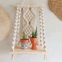 Tapestries Boho Macrame Wall Hanging Shelf Handmade Woven Tassel Tapestry Rack Wood Floating Storage Hanger For Home Decor