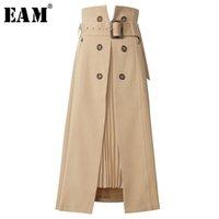 [Eam] Cintura alta Cintura Brown Bandagem Assimétrica Temperamento Plissado Meio Corpo Saia Mulheres Moda Maré Primavera Outono 1S464