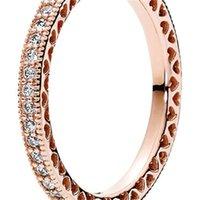 Rose chapado en oro 925 anillo de plata esterlina corazones de joyería de estilo pandora europeo regalo de anillo de encanto 181 q2