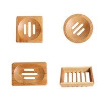 Bambus Seifenschale Holzseifen Tray Halter Lager Rack Platte Kastenbehälter für Badewanne Dusche Badezimmer Zubehör 5 Stil HH21-254