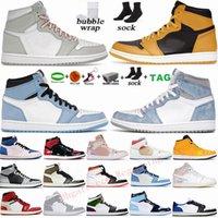 Nike Air Jordan 1 رجالي أحذية كرة السلة 1 ثانية جديدة عالية OG حبوب اللقاح جامعة Seafoam الأزرق الكهربائية البرتقالية الظلام mocha bred الظل unc تويست المرأة