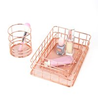 Office Desk Table Mesh Square Pencil Pot Cup Case Container Organizer Rose Gold Metal Pen Holder Home School Storage Basket Sd Hooks & Rails