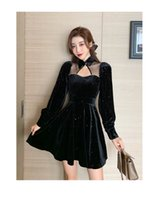 Women's Autumn new fashion turn down collar long sleeve lace patched sexy hollow out style black color velvet shinny bling short dress SMLXLXXL