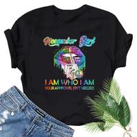 Kasım Kız Renkli Dudak Baskı Kadın T Gömlek Kısa Kollu O Boyun Gevşek Tshirt Bayanlar Moda Tee Giysileri Tops Kadın T-shirt