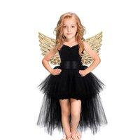 Black Girls Tutu Dress Tulle V-neck Train Evening Birthday Party Dresses Kids Girl Ball Gown Dress Halloween Costume Princess H0910