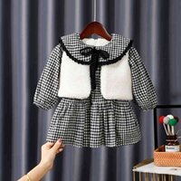 Gooporson الشتاء الاطفال ملابس الصوف فيستبليد الدانتيل طويلة الأكمام الأميرة اللباس الدافئة vestidos الصغار الفتيات زي 210508