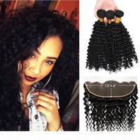 13x4 Ear to Ear Curly Lace Frontal Closure With Bundles 3pcs Cheap Deep Wave Malaysian Peruvian Hair Weaves and Front Lace Closure Pieces