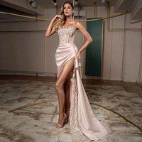 2021 Prom Dresses Sexy Strapless High Side Split Evening Gowns Elegant Lace Appliques Women Special Occasion Dress