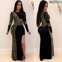 Ethnic Clothing Plus Size African Dresses For Women 2021 Dashiki Diamond Evening Party Long Dress High Split Bodycon Africa Fall Clothes