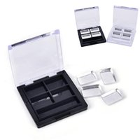 Eye Shadow Square Eyeshadow Case 4 Palettes Pans, Container, Empty Cosmetic Blusher Compact, Clear Base And Black