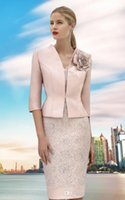 Newest Pink Knee Length Mother of The Bride Dresses V Neck Satin Lace Half Sleeve Sheath Formal Evening Prom Dress
