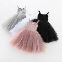 Kızlar Parantez Kabin Tül Elbise Yaz Çocuk Butik Giyim 1-4 T Çocuk Kolsuz 4 Katı Renk Tutu Elbiseler