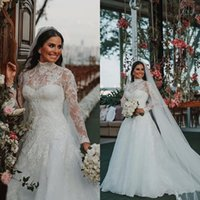 African High Neck Long Sleeves Muslim Wedding Dresses 2019 Plus Size Lace Appliques Satin A Line Wedding Bridal Gowns