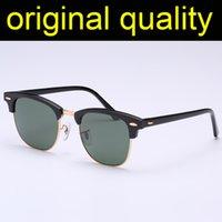 Top Quality 3016 Óculos de Sol Mens Mulheres Real Lentes De Vidro Lentes Acetato Quadro Sol Óculos Homens Mulheres Lentes De Vidro Oculos de Sol