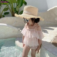 One-Pieces Children Split Swimsuit Girl Lace Plaid Little Princess Baby Bikini With Hats 3 Pieces Swimwear Sets 2021 Sweet Swimsuits