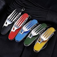 Forks Portable Stainless Steel Multifunctional Dining Tool Family Outdoor Picnic Knife Fork Spoon 3 In 1 Tableware