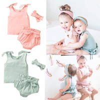 Clothing Sets Toddler Baby Girl Boy Summer Outfits Solid 3Pieces Cotton Clothes Sleeveless Tie Knot Tank Top+Bloomers+Headband For 0-3Y