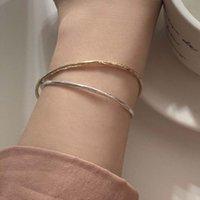 Corée Dongdamen 925 Argent Bague mince Bracelet Conception avancée Sentir de la texture irrégulière Bracelet de tempérament de luxe à la main